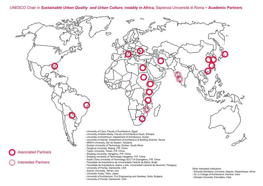 Map UNESCO Chair SUQ partners